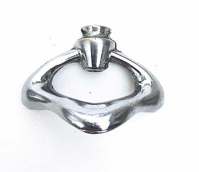 "MCM Chrome Cabinet Pull Vintage Antique Drawer Pull Knob 1.5""Center"