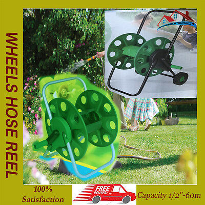 Hose Pipe Reel Holder Trolley Cart Garden Water Portable Free Standing Stand 212
