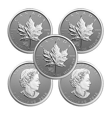 2016 Grizzly Bear Privy Canadian Silver Maple Leaf Reverse Proof Coin (Lot of 5)