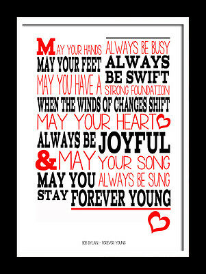10x8 mount and print. Bob Dylan Forever Young Typography art print song lyric.