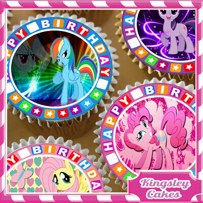 24 x MY LITTLE PONY MIXED BIRTHDAY EDIBLE CUPCAKE TOPPERS RICE PAPER KC01297-24