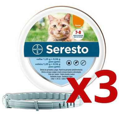 3 x SERESTO 38CM GATOS / CATS - COLLAR ANTIPARÁSITOS / FLEA, TICK COLLAR