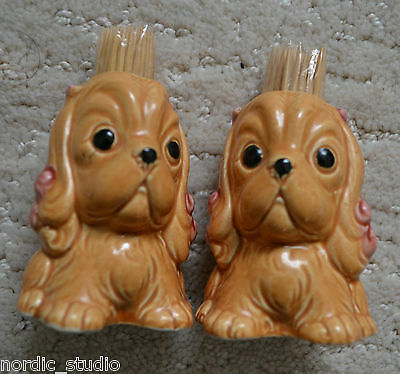 Vintage Pair of Ceramic Toothpick Holders COCKER SPANIEL DOGS,  Japan