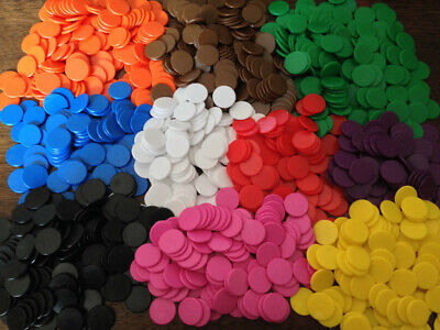 100 x 18mm New Plastic Counters Board Game Tiddlywinks Teaching Aid 4 Colors