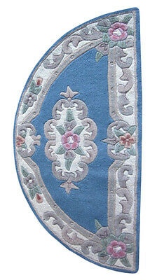 MADISON THICK WOOL BLUE FRENCH AUBUSSON CARVED HALF ROUND RUG MAT 67x120cm **NEW