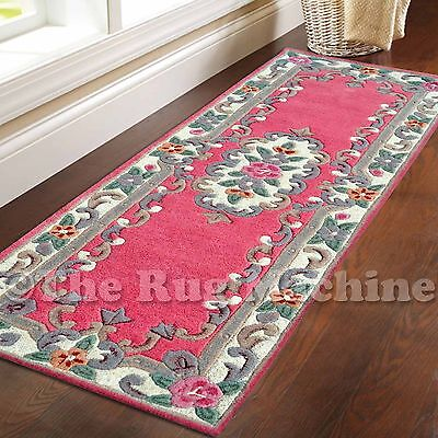 MADISON THICK WOOL PINK FRENCH AUBUSSON CARVED DESIGN RUG RUNNER 67x210cm **NEW*