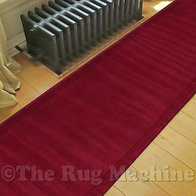 DECO THICK WOOL RED SIMPLE RIBBED DESIGN MODERN FLOOR RUG RUNNER 80x300cm **NEW*