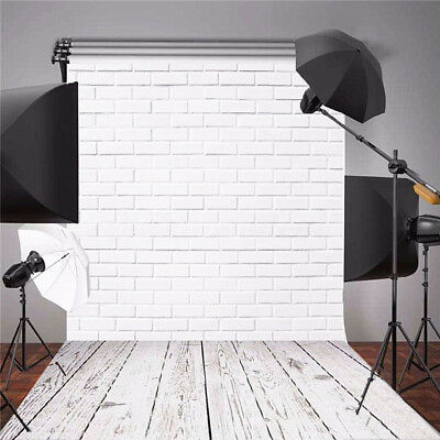 White Brick Wall Wood Floor Backdrop Photography Background Studio Props 3x5FT