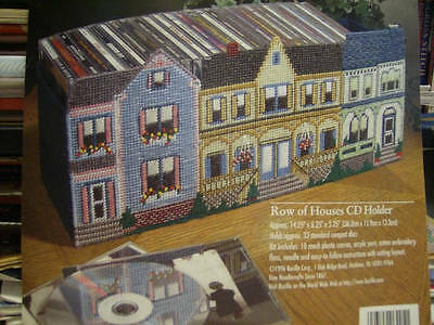 Bucilla Row Of Houses CD Holder Plastic Canvas Kit-#6205- 14.25x6.25x5.25 Inches