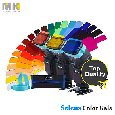 Selens Universal Flash Gels Lighting Filter + Two gels bands Kits for Flashlight
