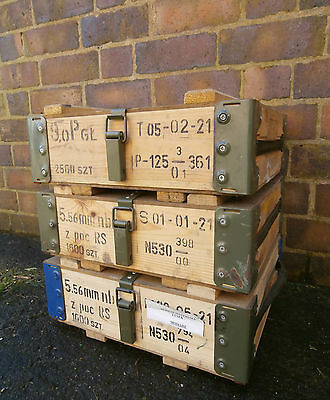 NATO Ammo Box Wooden Tool Box Ammunition Storage With Carry Handles Army Surplus