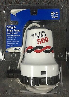 New TMC Bilge Pump 500 - 12 volt BLA 131600  Marine Boating Bilge Pumps 500GPH