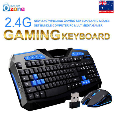 2.4G Wireless Gaming keyboard and Mouse Set Bundle Computer PC Multimedia Gamer