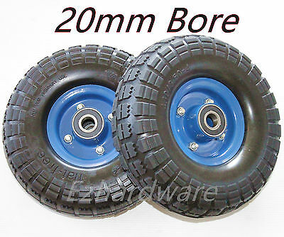 "2x10""Puncher Proof Solid  Rubber Wheels Trolley Tyre Tire Flat Free 20mm Bore"