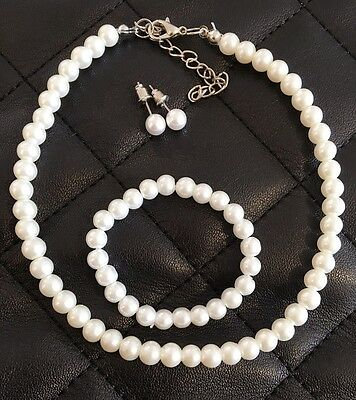 Kids Babys Faux Pearl Jewellery Set Wedding Communion Necklace Earrings Bracelet