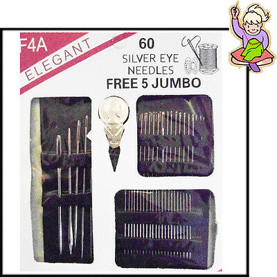 60 Sewing Needles Set Kit Hand Big Eye Thread Upholstery Repair Free Jumbo Size