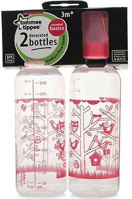 Tommee Tippee 2-Pack Standard Neck Decorated Bottles for Girls 3m+ 250ml / 8.5oz
