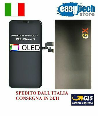 DISPLAY LCD Schermo Vetro Per iPhone X - 10 OLED GX   Top Touch Screen NERO