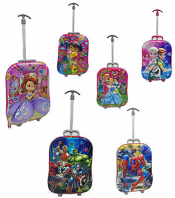5D Kids 3 Piece Hand Luggage Trolley Set School Holiday Cabin Travel Suitcase