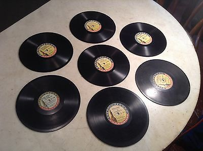 """Patented 1916 Lot of 7 Vintage Emerson 7"""" Phonograph Records"""