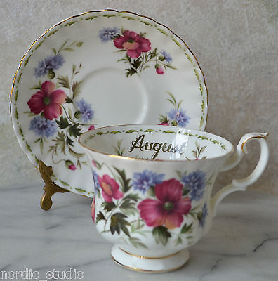 ROYAL ALBERT  - AUGUST FLOWER OF THE MONTH POPPY CUP & SAUCER SET, bone china