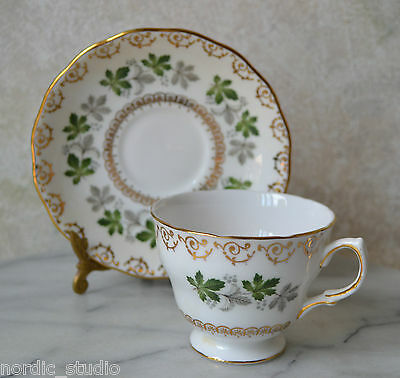 GREEN GREY LEAF 8250 FOOTED TEA CUP & SAUCER SET BY COLCLOUGH RIDGWAY England