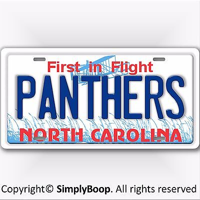 Carolina PANTHERS NFL NFC North Carolina State License Plate Tag New Blue Text