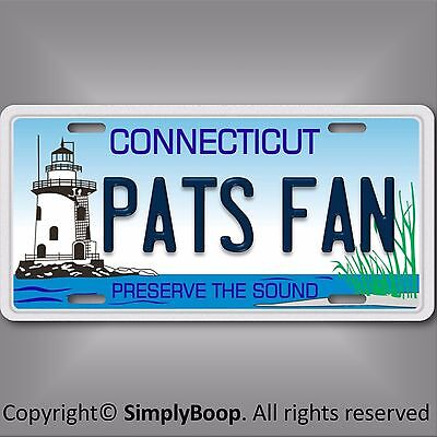 Connecticut  Pats Fan Patriots AFC NFL Football Team Vanity License Plate Tag