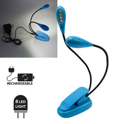 2 Arms 8 LED Clip-on Flexible Book Reading LED Light for Amazon Kindle w/Charger