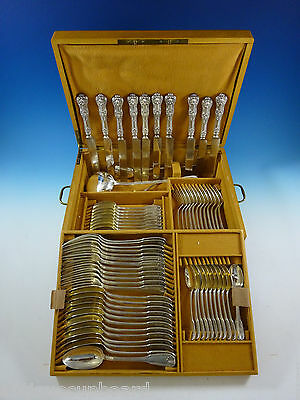 Kings by Campenhout French Sterling Silver Flatware Set Service 75 PC Fitted Box