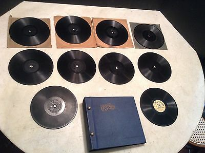 """Patent 1909 Lot of 10 Little Wonder 5 1/2"""" Phonograph Records with Record Album"""