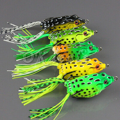 Silicone Grand Frog Topwater Leurre De Pêche Poissons Nageurs Crochets Bass