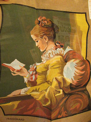 Fragonard Lady Reading Book Needlepoint Canvas 17x21.5 Inches