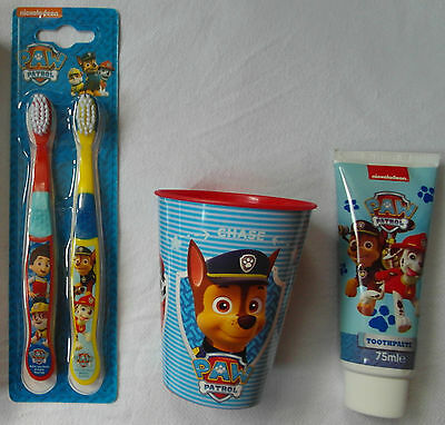 Nickelodeon PAW PATROL - 3pc Set - Toothbrushes, Toothpaste, Cup/Tumbler