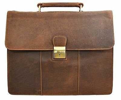 Visconti Visconti Apollo Oil Tanned Leather Briefcase With Strap and Lock É