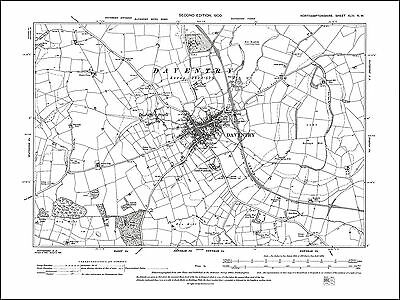 Map Of Uk 1900.Daventry Old Map Northants 1900 43nw Repro