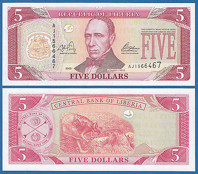 LIBERIA 5 Dollars  P 26 a 2003 UNC Low Shipping! Combine FREE! (P-26a)