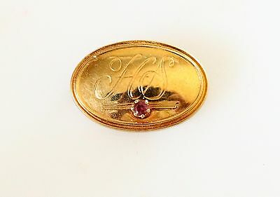 Gold plated Victorian with genuine red Ruby gemstone cameo BROOCH