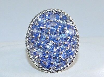 GENUINE! RARE 5.04cts! Tanzanite Oval Cluster Ring in Solid Sterling Silver 925!