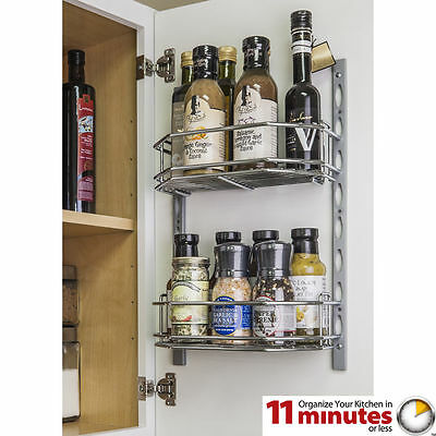 Door Mount Kitchen Cabinet Spice Rack Holder - Jar Rack - Mountable - Chrome