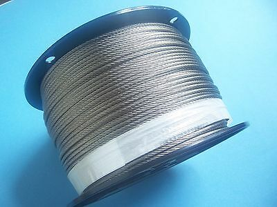 """Type 316 Stainless Steel Wire Rope Cable, 1/8"""",7x19, 1000 ft Reel"""