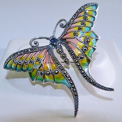 GENUINE! 0.14cts! Sapphire, Marcasite & Enamel Butterfly Brooch Solid Silver 925