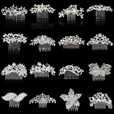 Wedding Bridal Flower Leaf Crystal Diamante Hair Comb Slide Fascinator Silver