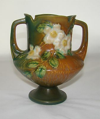Vintage 1940's Roseville Pottery White Rose Pattern Flower Vase - Mint!