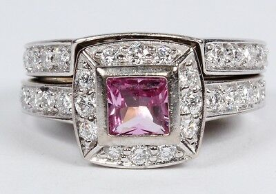 CLEARANCE Ladies 18ct White Gold Diamond & Pink Sapphire Bridal Ring Set #222757