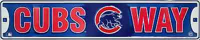 """Chicago Cubs Street Sign 24"""" X 5"""" Embossed Metal Cubs Way Road Rd Game Room"""