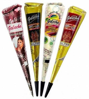4x Golecha Henna Kegel (Mix Color) Black, Red, White, Brown | 100g