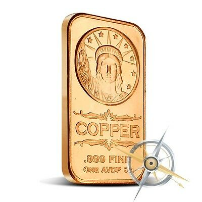1 oz Copper Bar - Statue Of Liberty