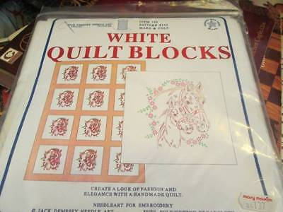 Mare & Colt White Quilt Blocks Stamped For Embroidery- 6 of 18x18 Inches