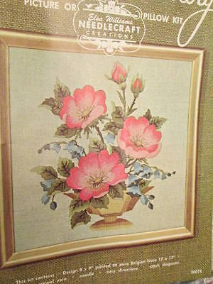 Elsa Williams Bowl of Wild Roses Crewel Embroidery Kit #00076- 8x9 Inches